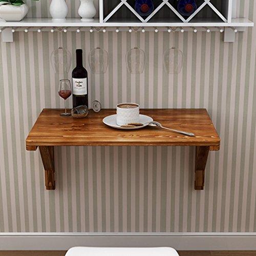 YHDD Klapptisch Massivholz Hängetisch Computer Schreibtisch Lerntisch Schreibtisch Wand Tisch Faltbare Tische, Carbonized Farbe (größe : 60 * 40cm)