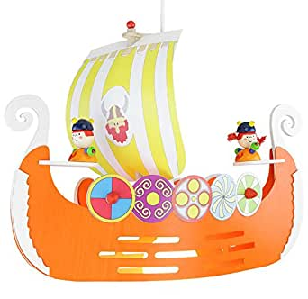 elobra kinderlampe deckenleuchte pendelleuchte wikingerschiff kinderzimmer holz orange a. Black Bedroom Furniture Sets. Home Design Ideas