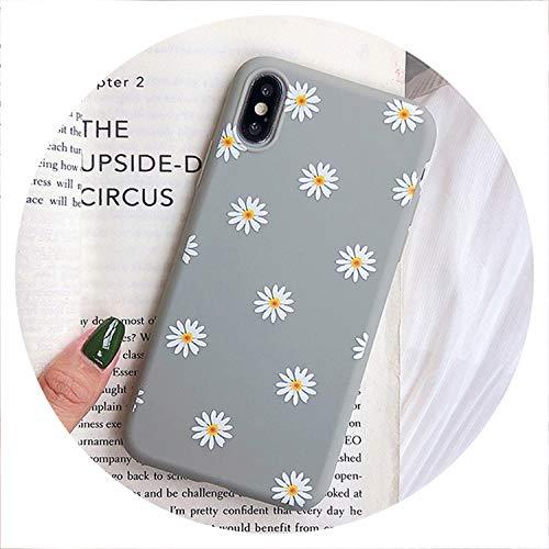 Telefon-Kasten für iPhone X XR XS Max 7 8 6 6s Plus 5 5s SE Chrysanthemum Blumen weichen TPU Silikon-Abdeckungs-Fälle, 5227GY, für iPhone 5 5s SE