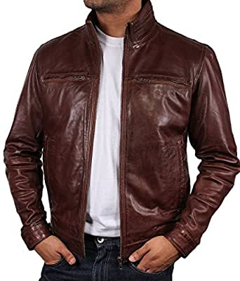 Mens Leather Biker jacket Brown Brand New Real Leather Coat Designer X-Small-5XL (X-Small)