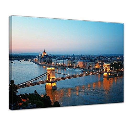 Kunstdruck - Budapest Skyline bei Nacht - Bild auf Leinwand - 50 x 40 cm - Leinwandbilder - Bilder als Leinwanddruck - Wandbild von Bilderdepot24 - Städte & Kulturen - Europa - Kettenbrücke und Donau Budapest-bild