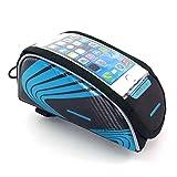 Fahrradrahmen Bike Bag & Handyhalter - passt für alle Fahrräder, geeignet für Bildschirm unter 5,5 Zoll Handy (Farbe : Blau)