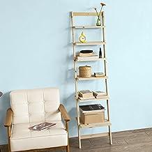 SoBuy® Estantería escalonada, librería, estantería de pared, 6 estantes, FRG161-N, ES