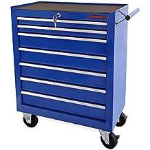 EBERTH Carro de herramientas con 7 cajones con texturizado de color azul