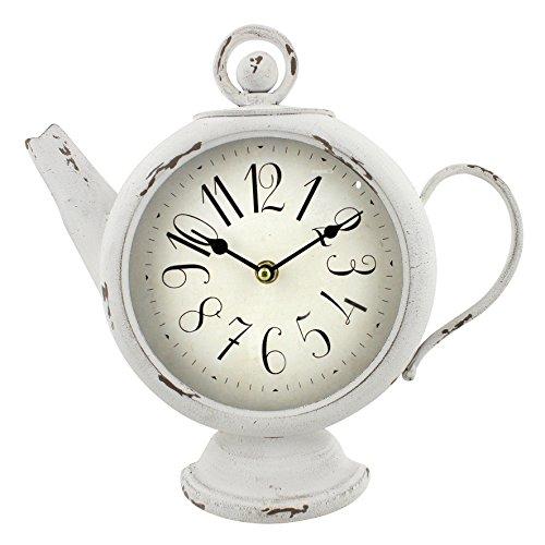 Weiße Teekanne Mantel Uhr von HomeTime