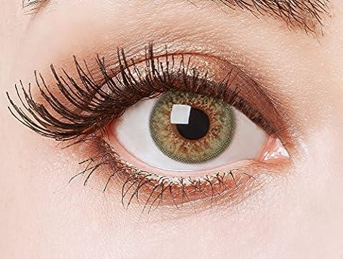 Couleur des lentilles de contact naturelles Green Glamour de aricona – ans les lentilles pas opaque à terme pour les yeux claires- sans correction- les lentilles colorées pour le carnaval- des soirées à thème et des costumes d'Halloween et accessoires de mode