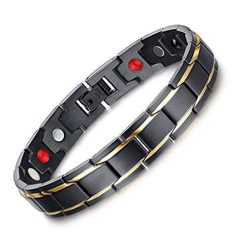 Vnox 12 millimetri uomo acciaio 2 gold line 4 in 1 bio terapia magnetica wristband,nero,22 centimetri