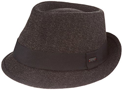 Levi's Unisex Pork Pie Hut Herringbone Trilby Black Outside Band, Grau (Dark Grey), Medium (Herringbone-band)