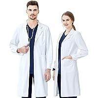 Blouse Blanche Lycée Coton, Blouse Chimie Laboratoire, KUMARS Femme Homme Manche Longue Blouse de Médecin Médical avec…