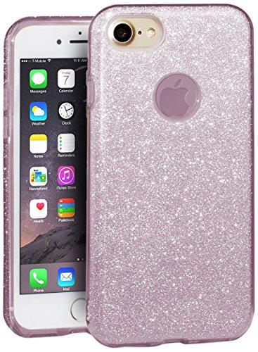 EGO ® Glitzer Schutzhülle + Panzerglas für iPhone 7 Plus, Pink Back Case Bumper Glänzend Transparente Handy Cover Strass Silikon TPU Luxury Lipgloss Pink