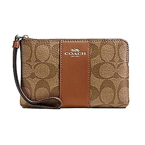 Geldbörsen Coach Handtasche (Coach Signature Handgelenk, PVC-Leder, mit Reißverschluss - braun - Einheitsgröße)
