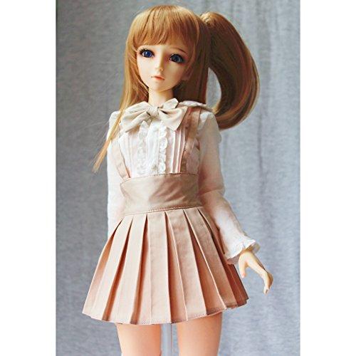 Unbekannt Trendy Puppe Hosenträger Plissee Kleid Minirock Für 1/3 BJD MSD DOA Dollfie Kleidung Verkleiden Sich - Khaki