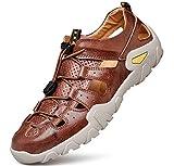 tqgold Sandales Homme Cuir Bout Fermé Sport Plage Chaussures de Marche Marron Taille 43