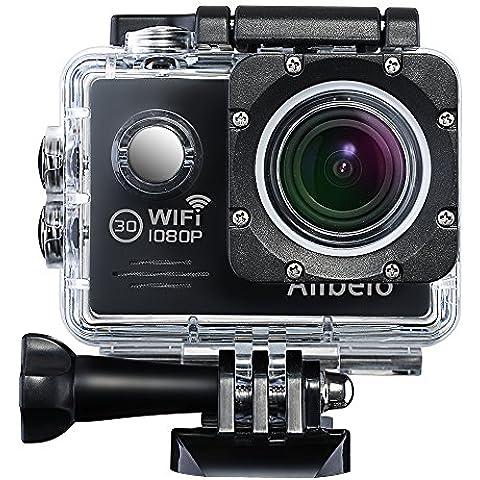 Anbero Cámara Deportiva WiFi Impermeable 2 Pulgadas 1080P 170 ° Gran Angular Action Camera para Bicicletas, Motocicletas, Buceo, Natación, Esquí,