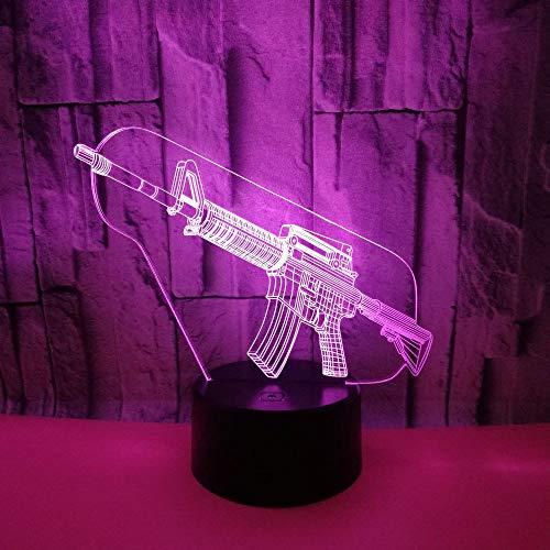 Pistolenform Hologramm 3d Lampe Nachttischlampe 7 Farbwechsel, Nachtlicht fürs Kinderzimmer LED Lampe fürs Wohnzimmer