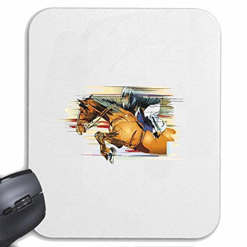 Reifen-Markt Mousepad (Mauspad) Vintage Pferde REITEN Reiter Pferdesport Pferdekopf Dressurreiten Rodeo Cowboy Springreiten Reitsport Hengst Pony für ihren Laptop, Notebook oder Internet PC (mit Wind