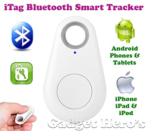 Gadget Hero's iTag Bluetooth Tracer Anti-Lost Alarm Remote Shutter Voice Recorder GPS Tracker White. Key Finder Locator Alarm For IOS iPhone Android.