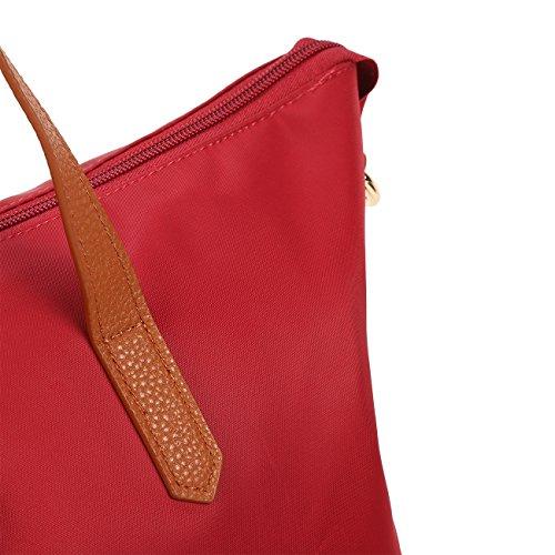ECOSUSI Borse Tote Donna Shopper in Nylon Borse a Spalla per Donne Bordeaux