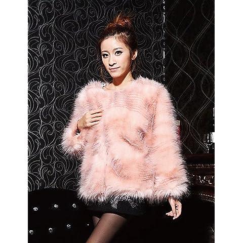 Xi&SOSO Bella manica lunga colletto di pelliccia casual Struzzo / Partito Jacket (pi¨´ colori) , pink , l - Faux Struzzo