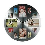 Fotouhr 38cm rund - Wanduhr für 12 Fotos - Aluminium Design Uhr - Fotogalerie Bilderrahmen Bildergalerie Edelstahl Look