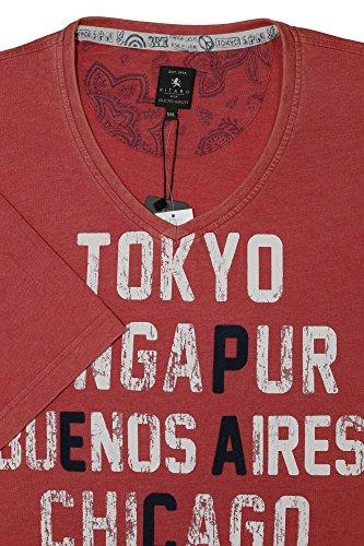 V- Shirt Tokyo von Kitaro in großen Größen, grau Rot