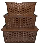 #7: Super Deals Fairfood New Arrival Best Selling Premium Quality Multipurpose Storage Basket With Cover Box - Brown (Set of 3)