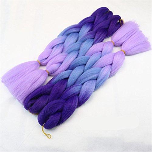 Chiguo 1 pezzi jumbo treccia hair extensions di capelli sintetici african 24'' / 60cm colore sfumato intrecciare i capelli parrucca braid (viola-blu-viola)