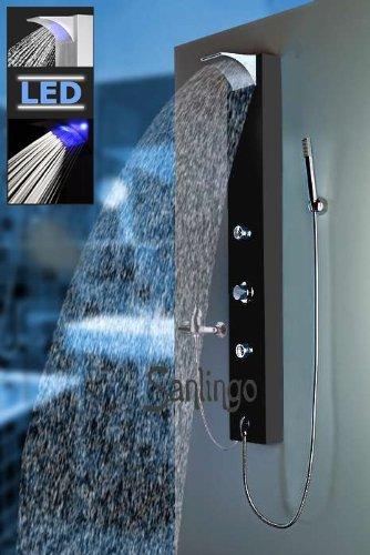 Schwarzes LED Duschpaneel aus Aluminium Duschsäule mit Wasserfall / Regendusche Anschluß an Brausearmatur von Sanlingo