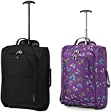 """Set of 2 21""""/55cm 5 Cities Cabin Approved Hand Luggage Lightweight Trolley Bags for Ryanair/Easyjet Print"""