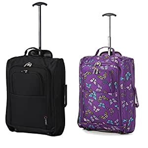 Set of 2 Super Lightweight Cabin Approved Luggage Travel Wheely Suitcase Wheeled Bags Bag BLK + 105 PURPLE