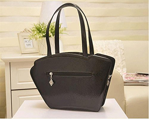 YANX La signora borsa retrò in pelle moda a fisarmonica Shoulder Bag Messenger , black Black