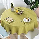 Nclon Volltonfarbe Baumwolle Leinen Tischdecke, Modernen Einfache Runden Esstisch Tischtuch tischwäsche, Textur Natürlichen Hohe Farbe Fasten-Gras-Grün Durchmesser 140cm