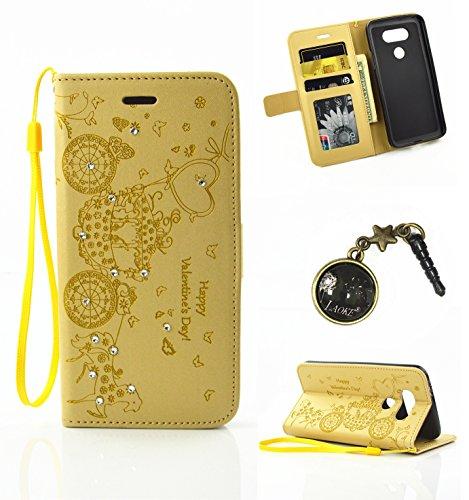 Preisvergleich Produktbild PU für LG G5 Hülle,Geprägte Handyhülle / Tasche / Cover / Case für das LG G5 PU Leder Flip Cover Leder Hülle Kunstleder Folio Schutzhülle Wallet Tasche Etui Standfunktion Kredit Kartenfächer+Staubstecker (4PP)