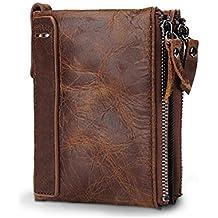 VECHOO Premium echtem Rindsleder Geldbörse mit RFID Schutz, Vintage Bifold Geldbeutel Doppelreißverschluss Portemonnaie mit Kreditkarte Halter(Braun)