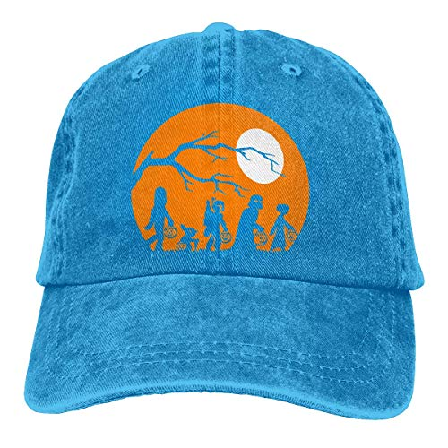 ZMYGH Halloween Silhouette Unisex Washed Adjustable Vintage Cowboy Hat Denim Baseball Caps
