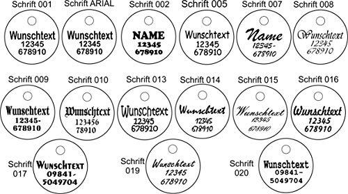 Anhänger rund (Kreis) fürs Halsband personalisiert ECHTES LEDER! Hundemarke ohne geklimper! f. Hundehalsband Katzenhalsband Kette DogTag (Normal) - 6