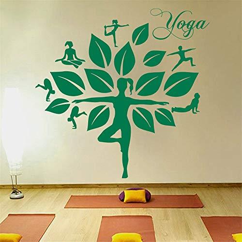 yiyitop Schöne Frauen Yoga Studio wandaufkleber Baum Muster Aufkleber blätter DIY Aufkleber dekorative Vinyl Vogue Kunst 42 * 45 cm