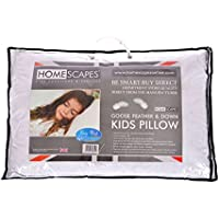 Homescapes Kids Pillow 40 x 60cm - Goose Feather Down Filling - 100% Cotton Fabric Washable Anti Dust Mite - Firmness Soft/Medium