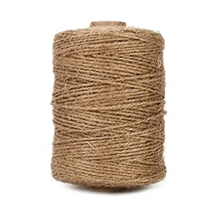 Tenn Well Jute Twine, 500 Feet Natural Thick Jute String 3Ply Jute Rope for Floristry, Gifts, DIY Arts&Crafts, Decoration, Bundling, Garden and Recycling (Brown)