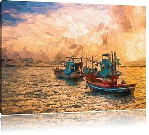 bateaux de pêche thaïlandais dans la mer Brush Art Effect, Format: 60x40 sur toile, XXL énormes Photos complètement encadrées avec civière, impression d'art sur murale avec cadre, moins cher que la peinture ou une peinture à l'huile, pas une affiche ou une bannière,