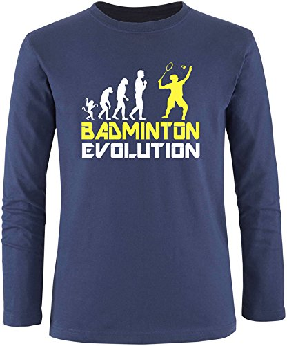 EZYshirt® Badminton Evolution Herren Longsleeve Navy/Weiss/Gelb