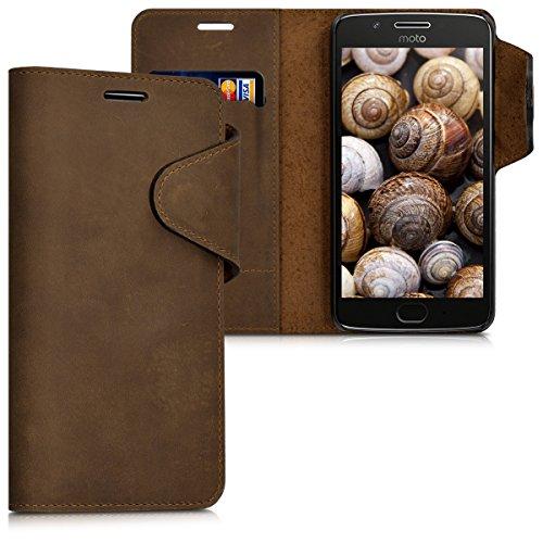 kalibri-Echtleder-Wallet-Hlle-fr-Motorola-Moto-G5-Case-mit-Fach-und-Stnder-in-Braun