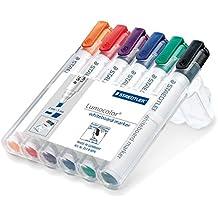 Staedtler 351 B WP6 Whiteboard-Marker Lumocolor (Keilspitze ca. 2 oder 5 mm Linienbreite, Set mit 6 Farben, hohe Qualität Made in Germany, trocken und rückstandsfrei abwischbar von Whiteboards)