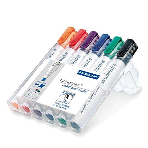 Staedtler Lumocolor 351 B WP6 Whiteboard-Marker, Keilspitze ca. 2 oder 5 mm Linienbreite, Set mit 6 Farben, hohe Qualität, trocken und rückstandsfrei abwischbar von Whiteboards (Tinte Stift Orange)