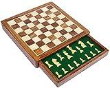 Muttertags Geschenke - SouvNear Reiseschach - Ultimatives Schach 30.4 x 30.4 cm Klassisches Holz Reise Schachspiel mit Magnet Staunton Figuren und Schublade (dient zugleich als Aufbewahrungskoffer) - Handgefertigt von Handwerkern in feines Rosenholz mit einem Walnuss-Finish - Innenraum Familie Brettspiele - 100% Zufriedenheits