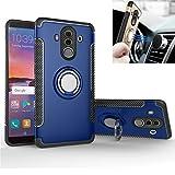 Coque Huawei Mate 10 Pro case Dans Silicone Housse de support de voiture Stent TPU + amortisseur de PC Double protection Aspiration magnétique Housse en tôle de fer pour Huawei Mate 10 Pro (Bleu)