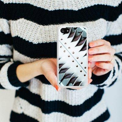 Apple iPhone 5 Housse étui coque protection Boucle Cuir Bandes Housse en silicone blanc