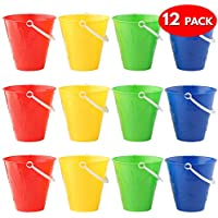 Bramble 12 secchielli dai colori vivaci - Colori assortiti secchiello - Ideali per spiaggia secchio, parco o recinto di sabbia, mare spiaggia secchiello