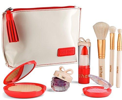 Litti Pritti Vorgeben Make-Up Für Mädchen Set - 8 Stück Kosmetische Play Schminkset - Pu-Leder-Etui