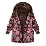 JUTOO Plus Size Frauen mit Kapuze Langarm Vintage Damen Fleece Dicke Mäntel Reißverschluss Mantel(Y3-rot,XXX-Large)